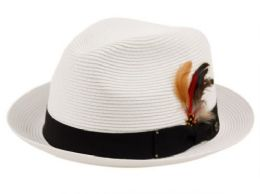 12 Units of Poly Braid Fedora Hats With Band And Feather - Fedoras, Driver Caps & Visor