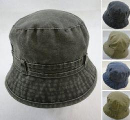 24 Units of Washed Denim Bucket Hat - Bucket Hats