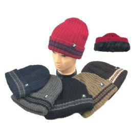 36 Units of Plush-Lined Knit Toboggan Wide-Striped Fold - Winter Beanie Hats
