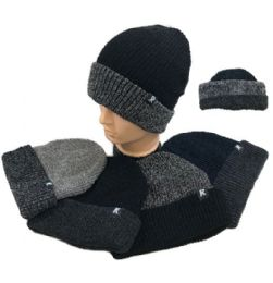 36 Units of Plush Lined Knit Toboggan Two Tone - Winter Beanie Hats