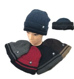 36 Units of Plush Lined Knit Toboggan Double Striped Fold - Winter Beanie Hats
