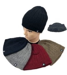36 Units of Plush Lined Knit Beanie Ribbed Solid Colors - Winter Beanie Hats