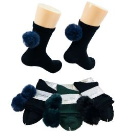 36 Units of Ladies Fashion Socks [poms Poms] - Womens Ankle Sock