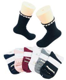 36 Units of Ladies Fashion Socks Pearls & Beads - Womens Crew Sock