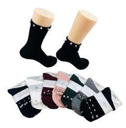 36 Units of Ladies Fashion Socks Pave Disco Beads - Womens Crew Sock