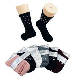 36 Units of Ladies Fashion Socks Mirrored Gems - Womens Crew Sock