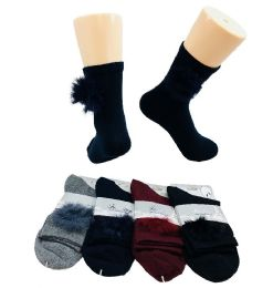 36 Units of Ladies Fashion Socks [Fur Ball] - Womens Crew Sock