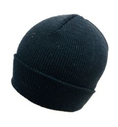60 Units of Knitted Toboggan Black Only Winter Beanie Hat - Winter Beanie Hats