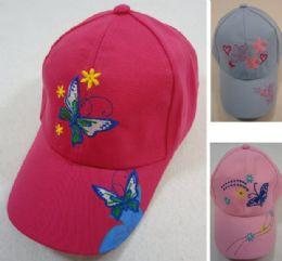 24 Units of Girl's Embroidered Ball Cap Butterflies - Kids Baseball Caps