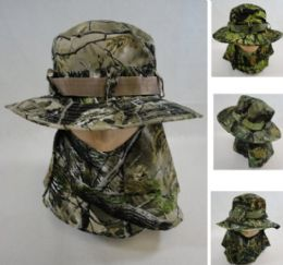 24 Units of Floppy Boonie Hat Hardwood Camo Snap Up Face & Neck Cover - Cowboy & Boonie Hat