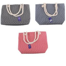 24 Units of Fashion Tote Bag Chevron Rope Handle - Tote Bags & Slings