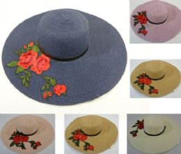 24 Units of Ladies Woven Fashion Hat Applique Roses - Sun Hats