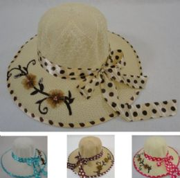 36 Units of Ladies Sun Hat Polka Dot Bow Applique Flowers - Sun Hats