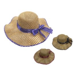 36 Units of Ladies Straw Hat Ruffled Edge Polka Dot Bow - Sun Hats