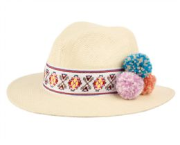 12 Units of Ladies Panama Hat With Band & Flower Trim - Sun Hats