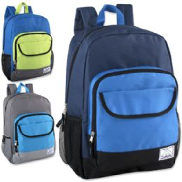 """24 Units of 18 Inch Color Block Flap Backpack - Boys Colors - Backpacks 18"""" or Larger"""