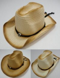 24 Units of Cowboy Hat with Medallion [Distressed Look] - Cowboy & Boonie Hat