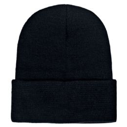 36 Units of Unisex Knitted Hat In Black - Winter Beanie Hats
