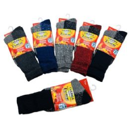 36 Units of Men's Thermal Crew Socks 10-13 [Assorted] - Mens Thermal Sock