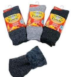 36 Units of 1pr Men's Thermal Crew Socks 10-13 [Rolled Top] - Mens Thermal Sock