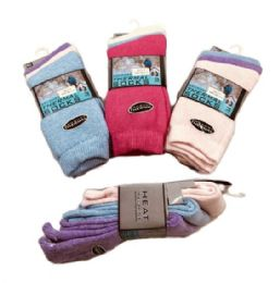 60 Units of Womens Brushed Thermal Crew Socks 9-11 Pastel Colors - Womens Thermal Socks