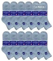 12 Pack of Mens Prestige Edge Ring Spun Cotton Diabetic Neuropathy And Edema Ankle Socks (Gray) - Men's Diabetic Socks