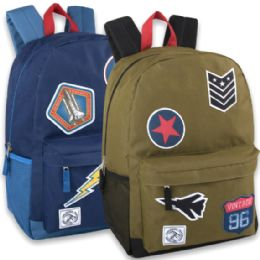 """24 Units of 18 Inch Patches Backpack With Side Pockets - Boy Colors - Backpacks 18"""" or Larger"""