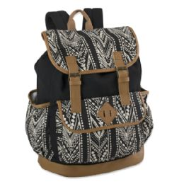 """24 Units of Cotton Canvas Drawstring Flap Backpack With Vinyl Bottom - Backpacks 18"""" or Larger"""