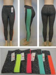 24 Units of Ladies Active Fitness Leggings [color Stripe Down Leg] - Womens Active Wear