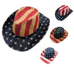 12 Units of Children Cowboy Hat USA Print - Cowboy & Boonie Hat