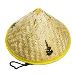 24 Units of Bamboo Conical Hat Leaf Design - Sun Hats