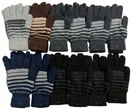12 Pair Of MB55 Mens Womens Assorted Design Winter Gloves, Stretchy and Warm - Winter Gloves