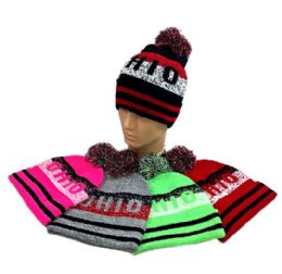 24 Units of Pom Pom Knit Hat OHIO Pixelated - Winter Beanie Hats