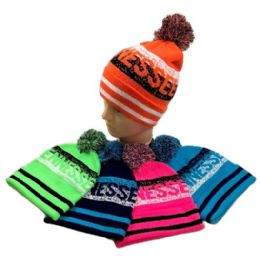 24 Units of Tennessee Pom Pom Knit Hat - Winter Beanie Hats