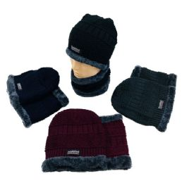 24 Units of Plush Lined Beanie/Neck Warmer Combo MultiStitch - Winter Beanie Hats