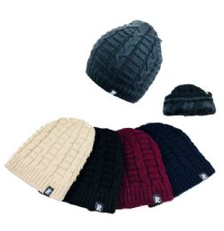 36 Units of Plush Lined Knit Beanie - Winter Beanie Hats