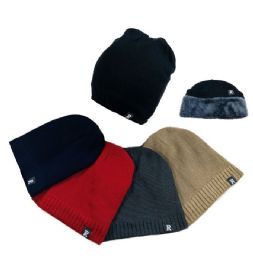36 Units of Plush-Lined Knit Beanie Ribbed Edge - Winter Beanie Hats