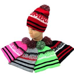 24 Units of Columbus Pom Pom Knit Hat - Winter Beanie Hats