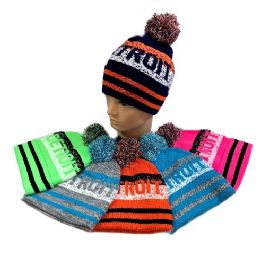24 Units of Detroit PomPom Knit Hat - Winter Beanie Hats