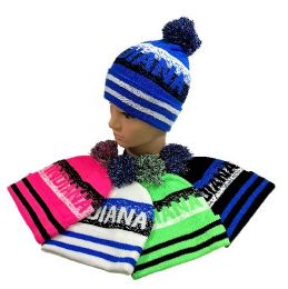 24 Units of Indiana Pom Pom Knit Hat - Winter Beanie Hats