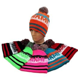 24 Units of Miami Pom Pom Knit Hat - Winter Beanie Hats