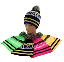 24 Units of Michigan Pom Pom Knit Hat - Winter Beanie Hats