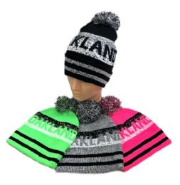 24 Units of Oakland Pom Pom Knit Hat - Winter Beanie Hats
