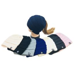 36 Units of Knitted Pony Tail Beanie Solid Colors - Winter Beanie Hats
