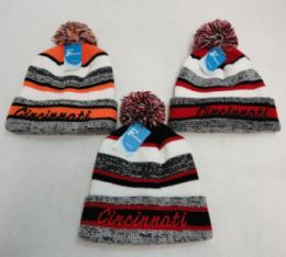 48 Units of Knitted Hat with PomPom Embroidered CINCINNATI Stripes - Winter Beanie Hats