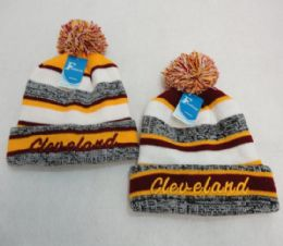 48 Units of CLEVELAND Stripes Knitted Hat with Pom Pom Embroidered - Winter Beanie Hats