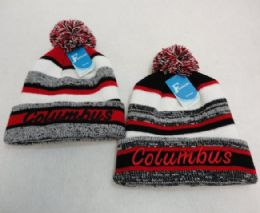 48 Units of COLUMBUS Knitted Hat with Pom Pom Embroidered Stripes - Winter Beanie Hats