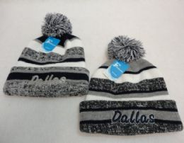 48 Units of Dallas Knitted Hat with Pom Pom Embroidered Stripes - Winter Beanie Hats