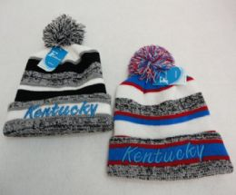 48 Units of Kentucky Knitted Hat with Pom Pom Embroidered Stripes - Winter Beanie Hats