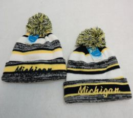 48 Units of Michigan Knitted Hat with Pom Pom Embroidered Stripes - Winter Beanie Hats